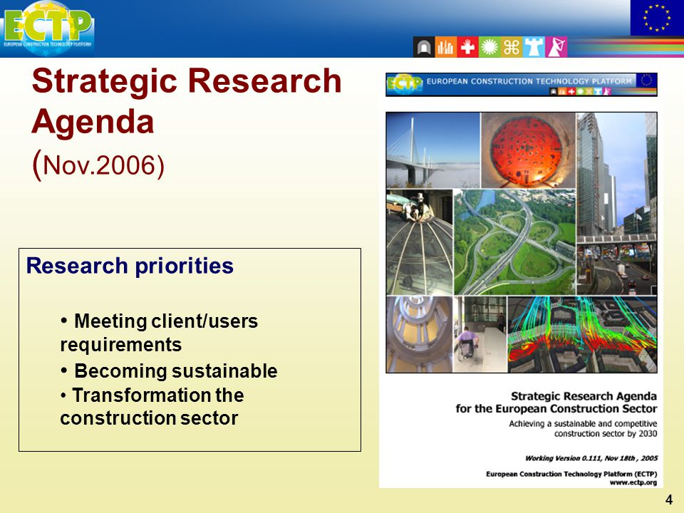 4 Strategic Research Agenda ( Nov.2006) Research priorities Meeting client/users requirements Becoming sustainable Transformation the construction sector