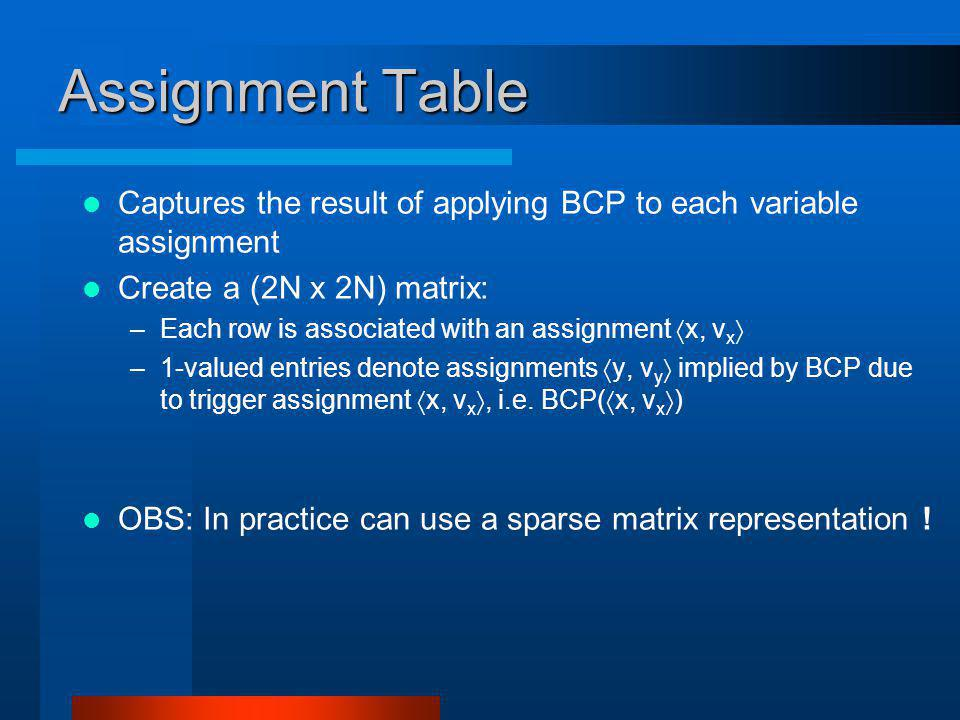 Assignment Table Captures the result of applying BCP to each variable assignment Create a (2N x 2N) matrix: –Each row is associated with an assignment x, v x –1-valued entries denote assignments y, v y implied by BCP due to trigger assignment x, v x, i.e.