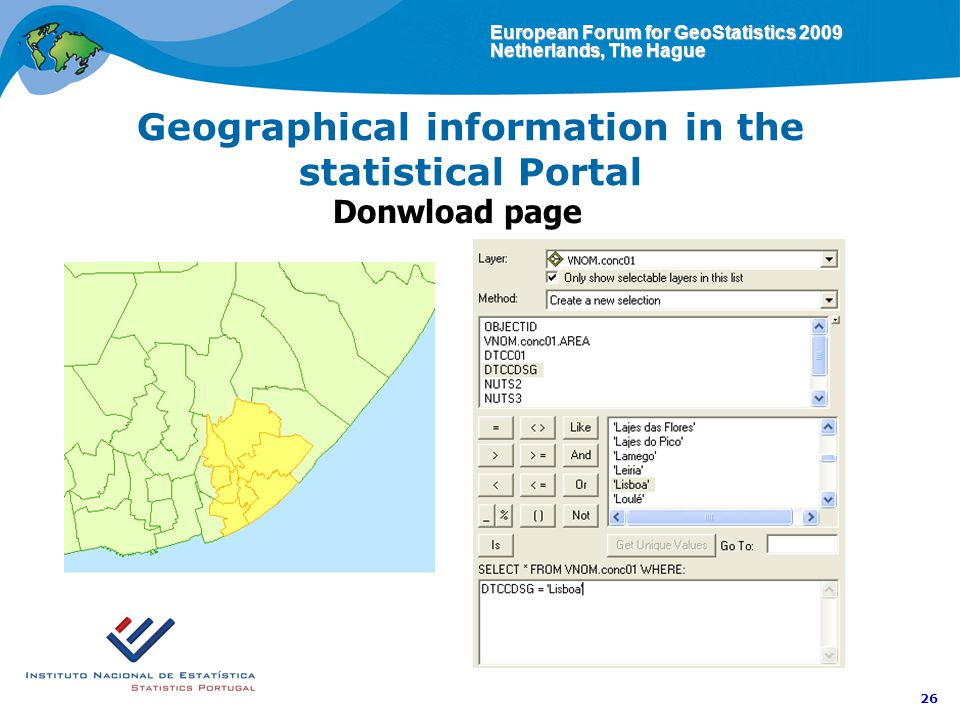 European Forum for GeoStatistics 2009 Netherlands, The Hague 26 Geographical information in the statistical Portal Donwload page
