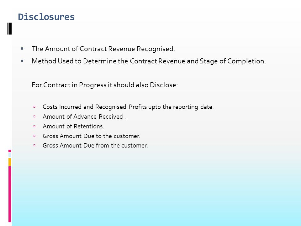 Disclosures The Amount of Contract Revenue Recognised.