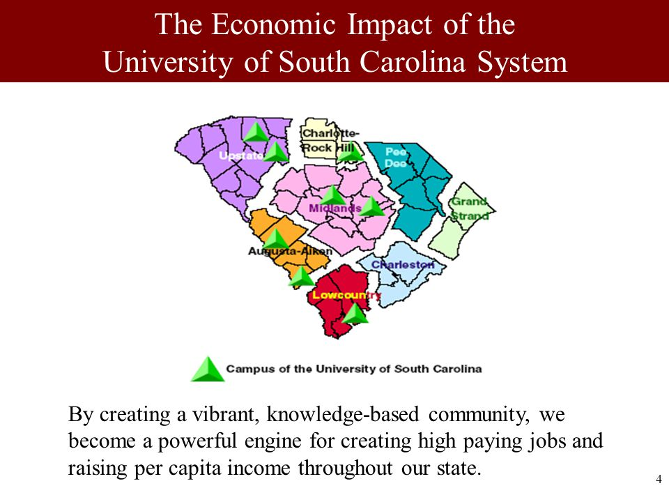 4 By creating a vibrant, knowledge-based community, we become a powerful engine for creating high paying jobs and raising per capita income throughout our state.