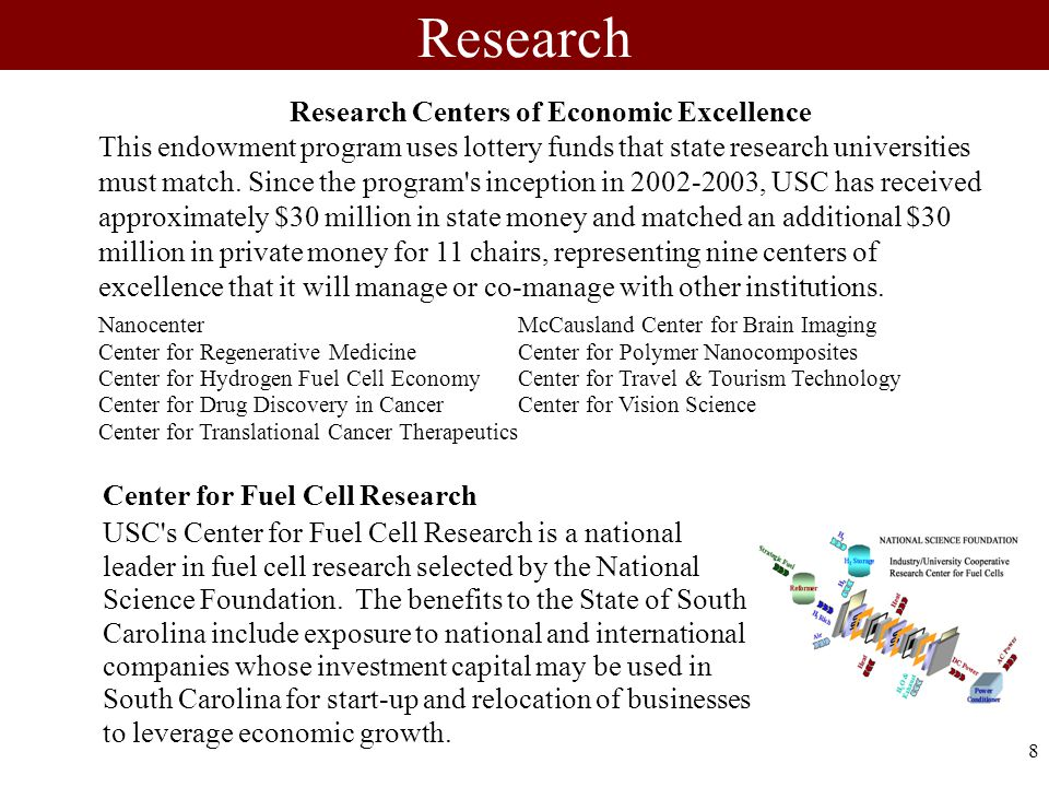 8 Center for Fuel Cell Research USC s Center for Fuel Cell Research is a national leader in fuel cell research selected by the National Science Foundation.