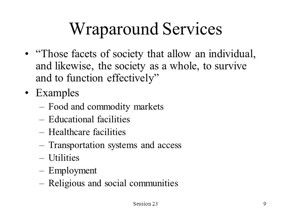 Session 239 Wraparound Services Those facets of society that allow an individual, and likewise, the society as a whole, to survive and to function eff