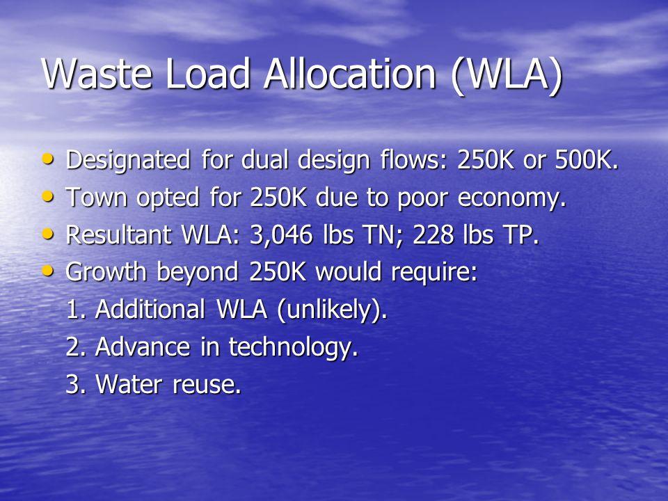 Waste Load Allocation (WLA) Designated for dual design flows: 250K or 500K.