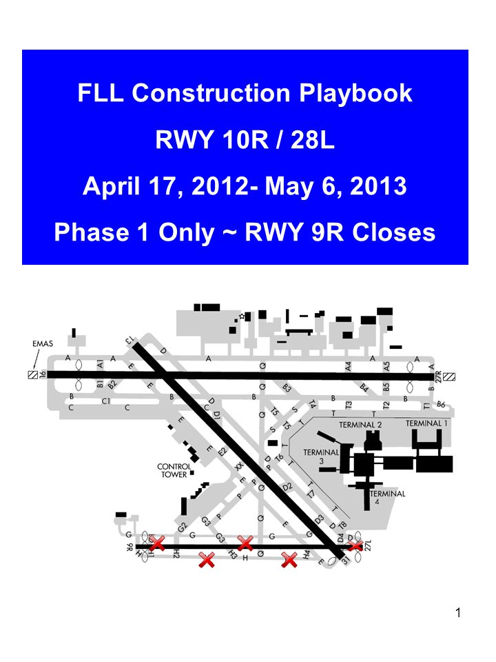 1 FLL Construction Playbook RWY 10R / 28L April 17, 2012- May 6, 2013 Phase 1 Only ~ RWY 9R Closes