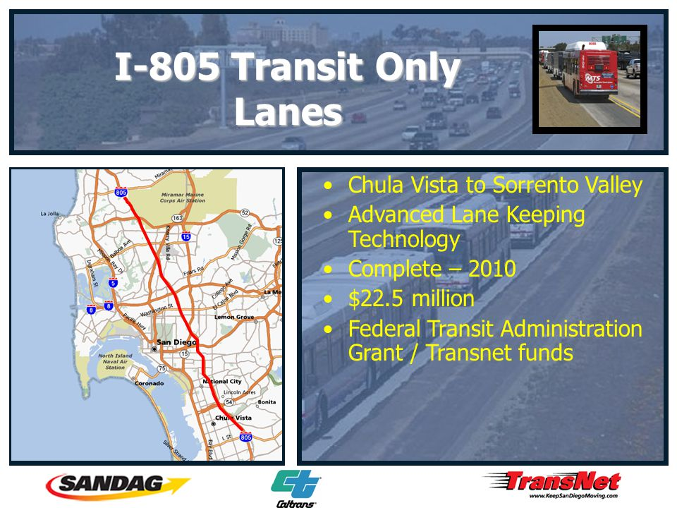 Chula Vista to Sorrento Valley Advanced Lane Keeping Technology Complete – 2010 $22.5 million Federal Transit Administration Grant / Transnet funds I-