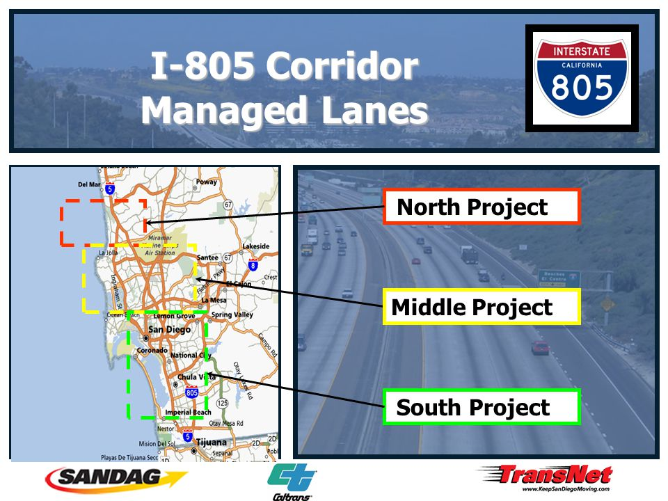 I-805 Corridor Managed Lanes North Project Middle Project South Project