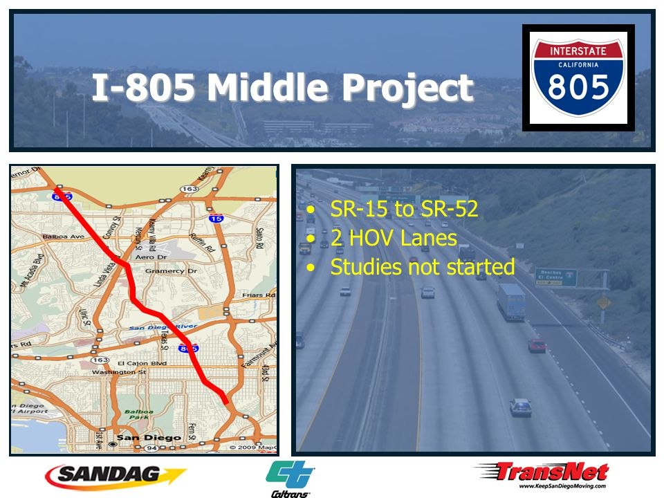 SR-15 to SR-52 2 HOV Lanes Studies not started I-805 Middle Project