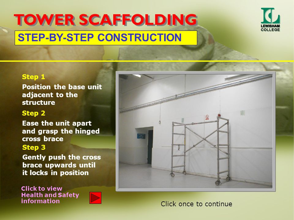 STEP-BY-STEP CONSTRUCTION Position the base unit adjacent to the structure Step 1 Ease the unit apart and grasp the hinged cross brace Step 2 Gently p