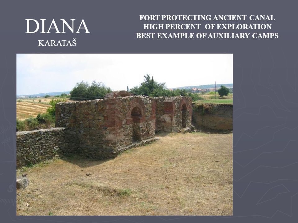 DIANA KARATAŠ FORT PROTECTING ANCIENT CANAL HIGH PERCENT OF EXPLORATION BEST EXAMPLE OF AUXILIARY CAMPS