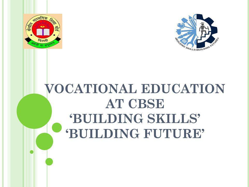 VOCATIONAL EDUCATION AT CBSE BUILDING SKILLS BUILDING FUTURE