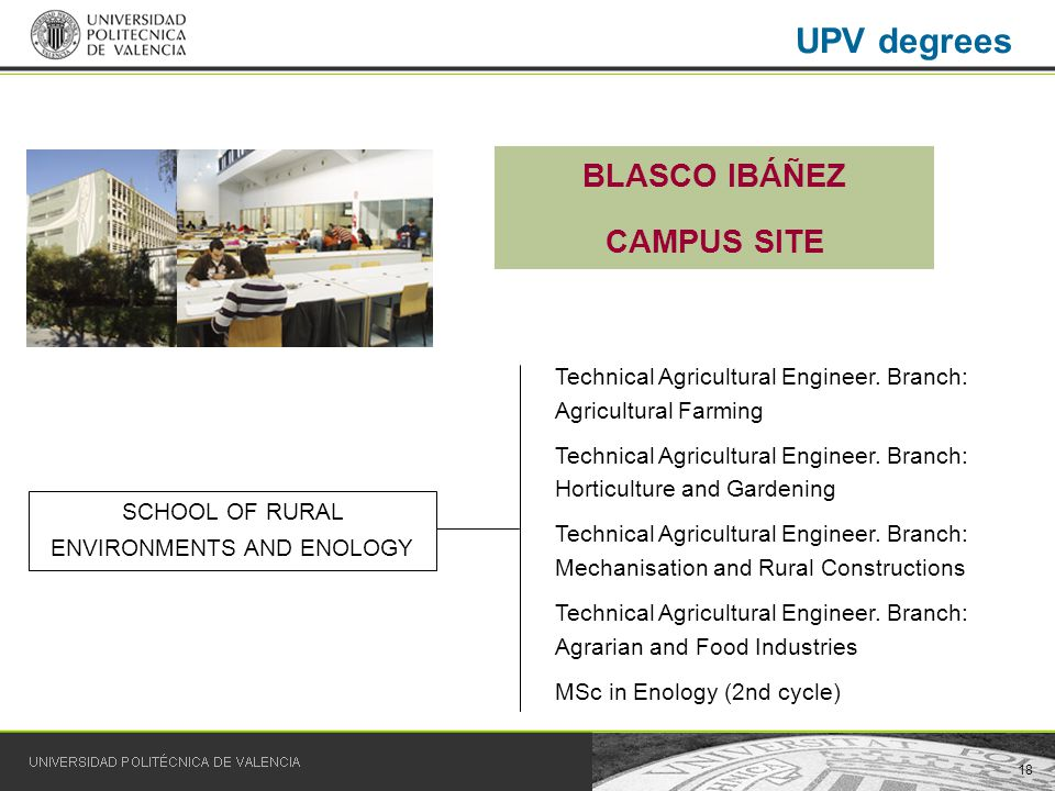 18 UPV degrees SCHOOL OF RURAL ENVIRONMENTS AND ENOLOGY Technical Agricultural Engineer.