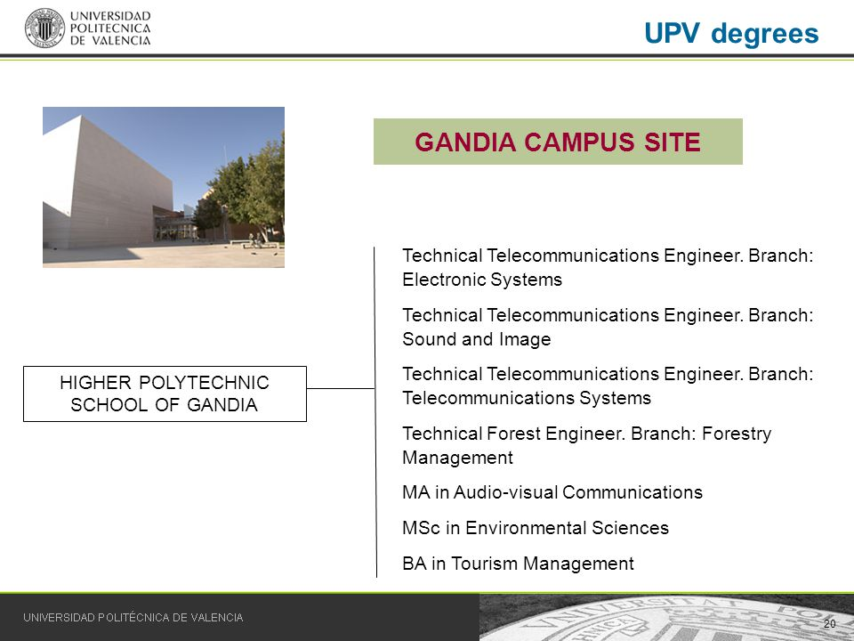 20 UPV degrees GANDIA CAMPUS SITE HIGHER POLYTECHNIC SCHOOL OF GANDIA Technical Telecommunications Engineer.