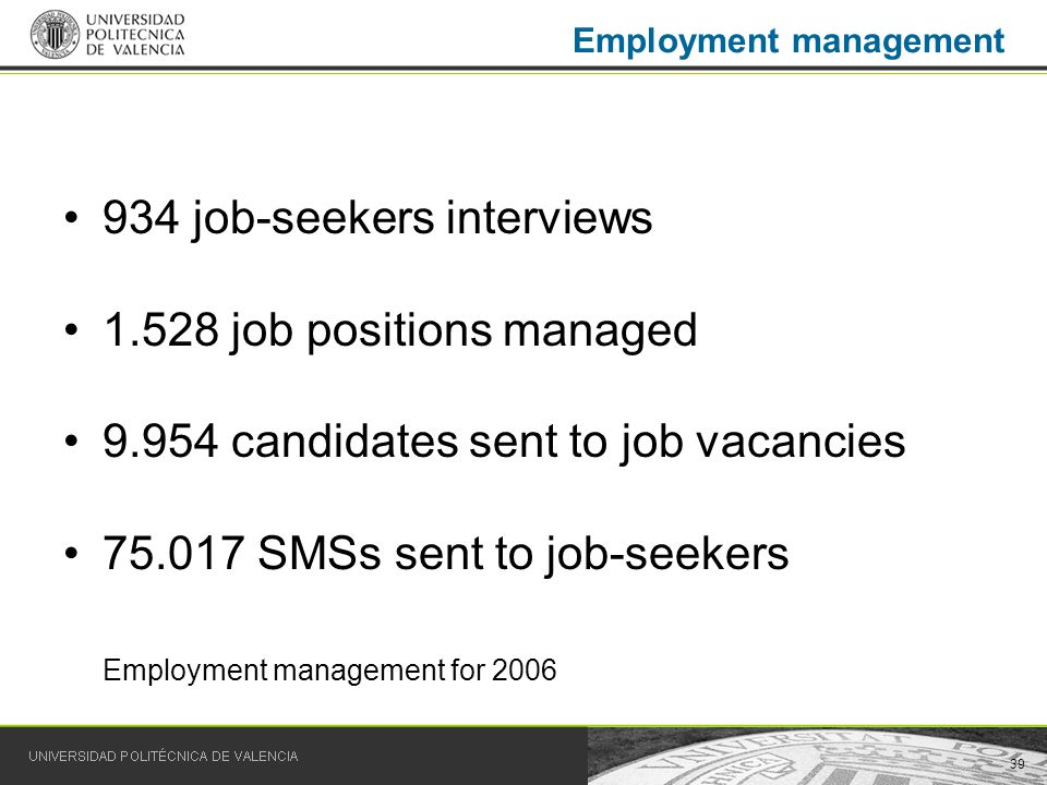 39 Employment management 934 job-seekers interviews 1.528 job positions managed 9.954 candidates sent to job vacancies 75.017 SMSs sent to job-seekers Employment management for 2006