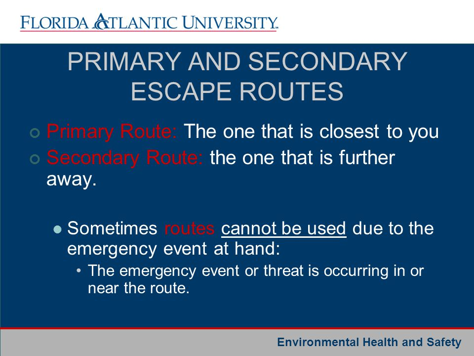 Environmental Health and Safety PRIMARY AND SECONDARY ESCAPE ROUTES Primary Route: The one that is closest to you Secondary Route: the one that is fur
