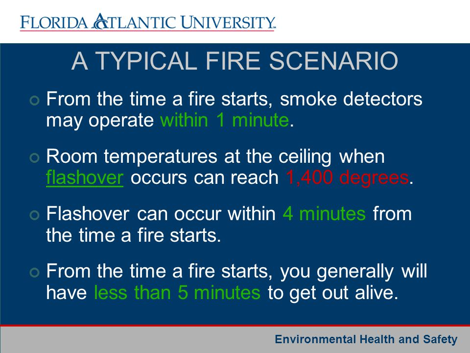 Environmental Health and Safety A TYPICAL FIRE SCENARIO From the time a fire starts, smoke detectors may operate within 1 minute. Room temperatures at
