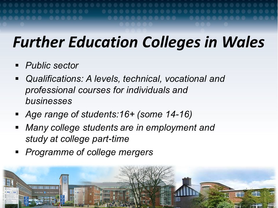 Work Based Learning in the UK – A Wales perspective – June 2013 Further Education Colleges in Wales Public sector Qualifications: A levels, technical,