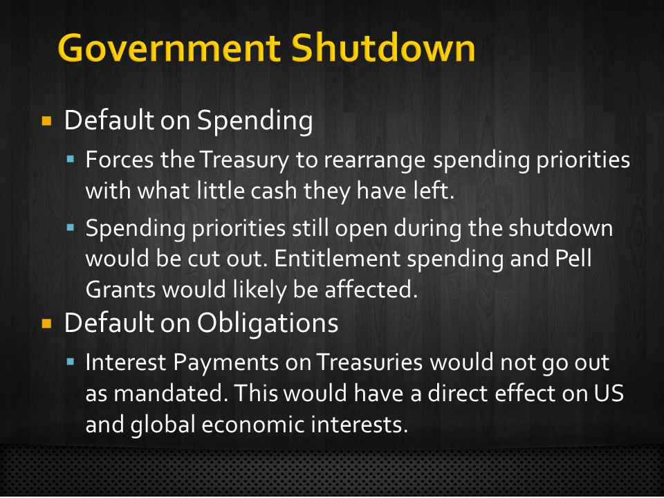 Default on Spending Forces the Treasury to rearrange spending priorities with what little cash they have left.