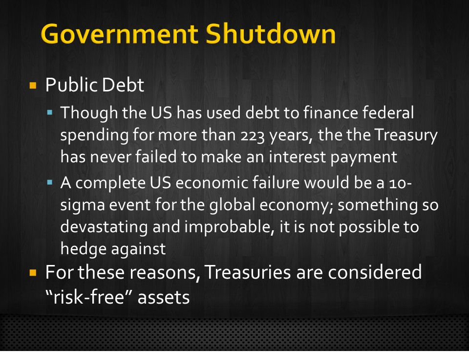 Public Debt Though the US has used debt to finance federal spending for more than 223 years, the the Treasury has never failed to make an interest payment A complete US economic failure would be a 10- sigma event for the global economy; something so devastating and improbable, it is not possible to hedge against For these reasons, Treasuries are considered risk-free assets