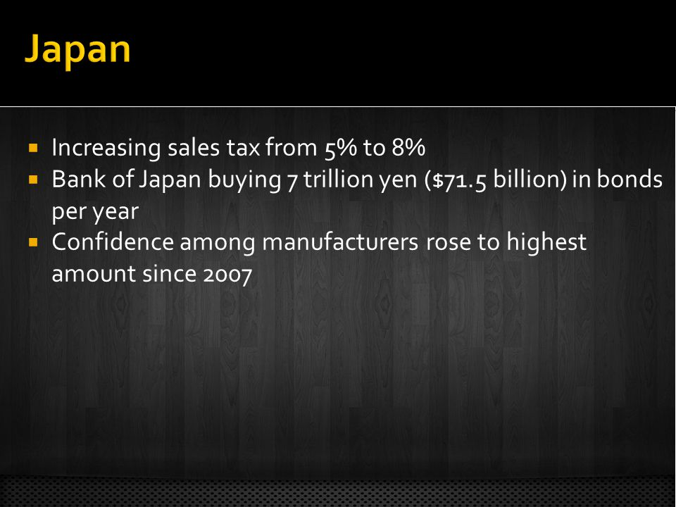 Increasing sales tax from 5% to 8% Bank of Japan buying 7 trillion yen ($71.5 billion) in bonds per year Confidence among manufacturers rose to highest amount since 2007