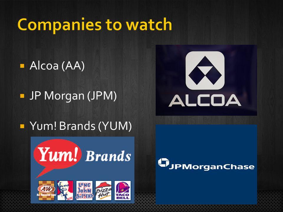 Alcoa (AA) JP Morgan (JPM) Yum! Brands (YUM)