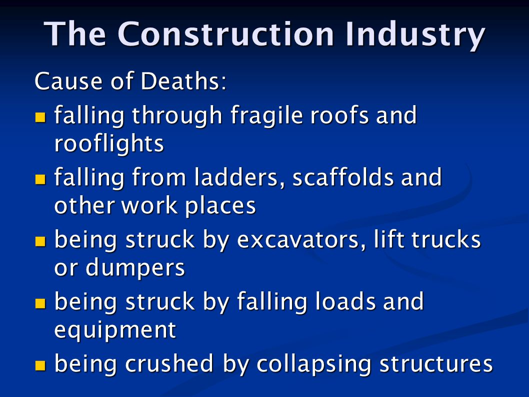 Cause of Deaths: falling through fragile roofs and rooflights falling through fragile roofs and rooflights falling from ladders, scaffolds and other w