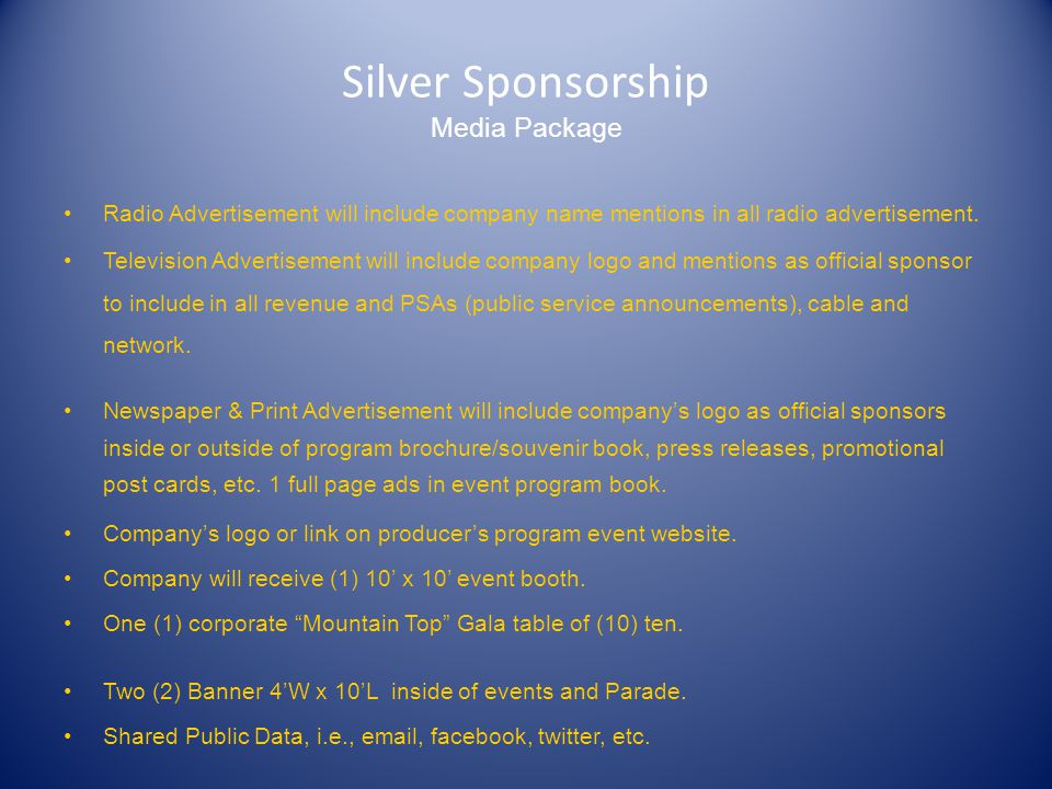 Gold Sponsorship Media Package Radio Advertisement will include company name mentions in all radio advertisement.