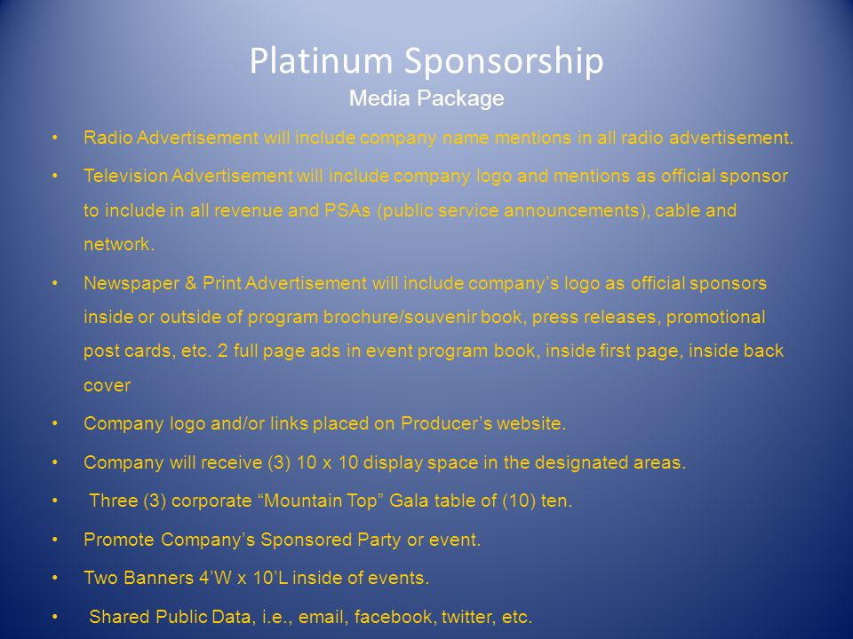 Platinum Sponsorship Media Package Radio Advertisement will include company name mentions in all radio advertisement.