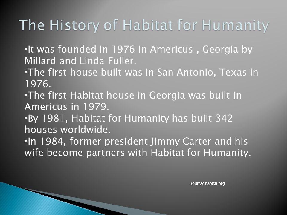 It was founded in 1976 in Americus, Georgia by Millard and Linda Fuller. The first house built was in San Antonio, Texas in 1976. The first Habitat ho