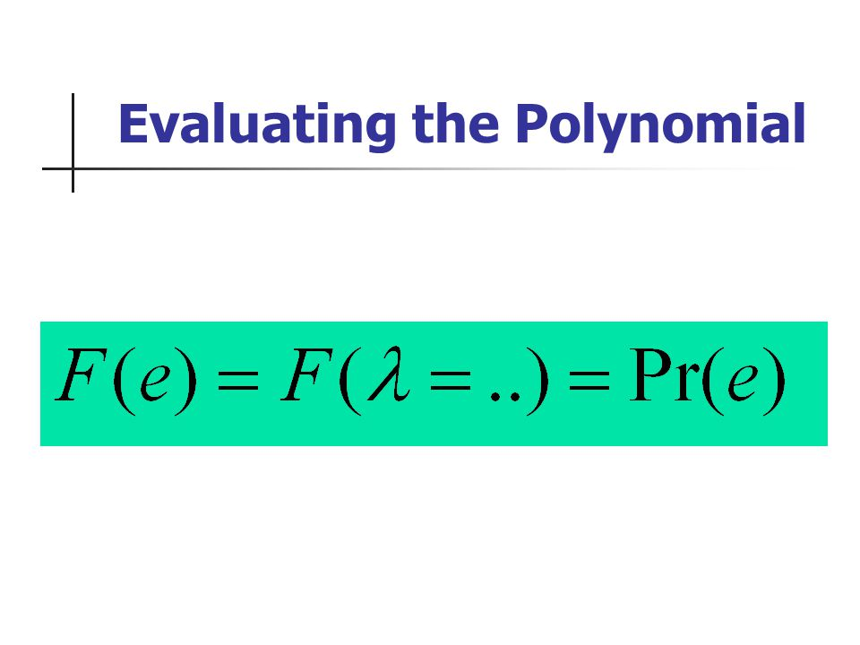 Evaluating the Polynomial