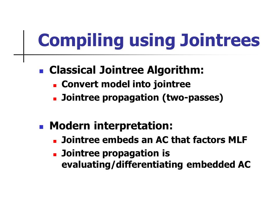 Compiling using Jointrees Classical Jointree Algorithm: Convert model into jointree Jointree propagation (two-passes) Modern interpretation: Jointree embeds an AC that factors MLF Jointree propagation is evaluating/differentiating embedded AC