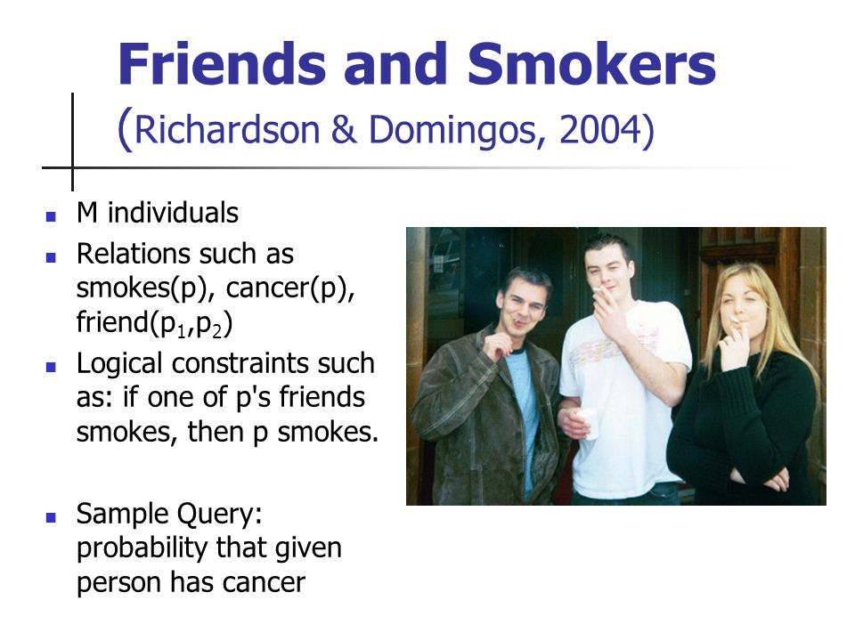 Friends and Smokers ( Richardson & Domingos, 2004) M individuals Relations such as smokes(p), cancer(p), friend(p 1,p 2 ) Logical constraints such as: if one of p s friends smokes, then p smokes.