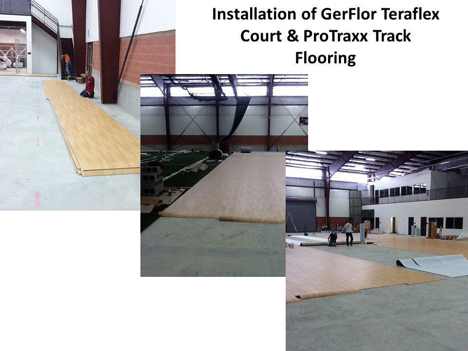 Installation of GerFlor Teraflex Court & ProTraxx Track Flooring
