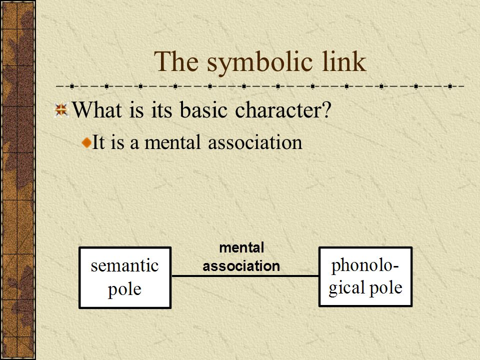 The symbolic link What is its basic character? It is a mental association