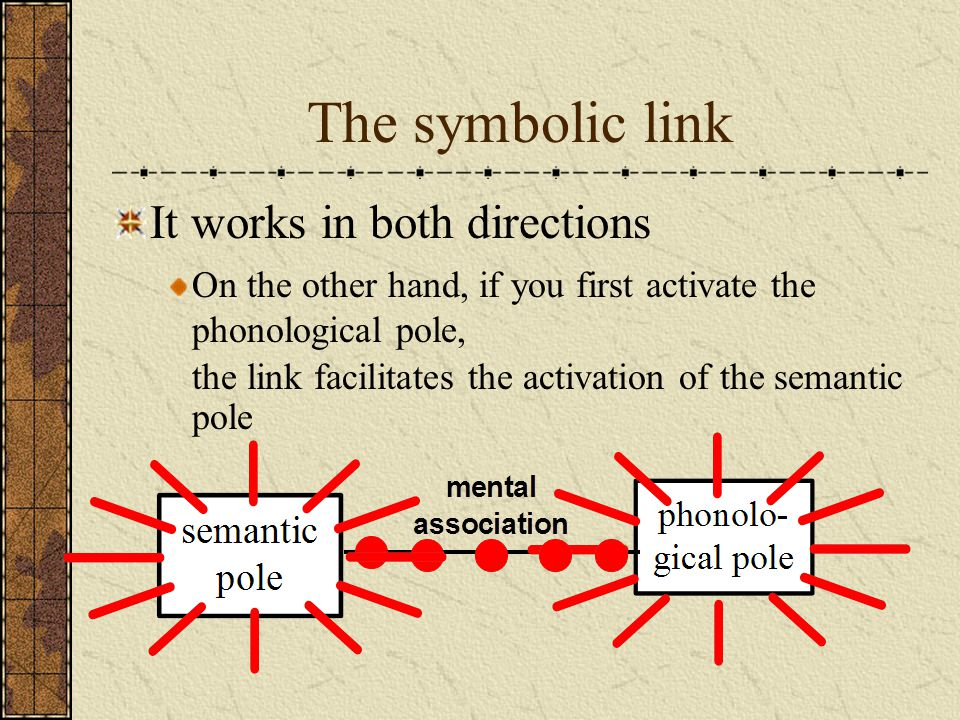 The symbolic link It works in both directions the link facilitates the activation of the semantic pole On the other hand, if you first activate the ph