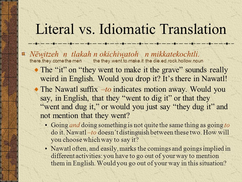 Literal vs. Idiomatic Translation Nēw ̯ itzeh n tlakah n okichiw ̯ atoh n mikkatekochtli. there.they.come the men the they.went.to.make.it the die.ed.