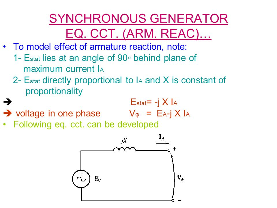SYNCHRONOUS GENERATOR EQ. CCT. (ARM. REAC)… To model effect of armature reaction, note: 1- E stat lies at an angle of 90 behind plane of maximum curre