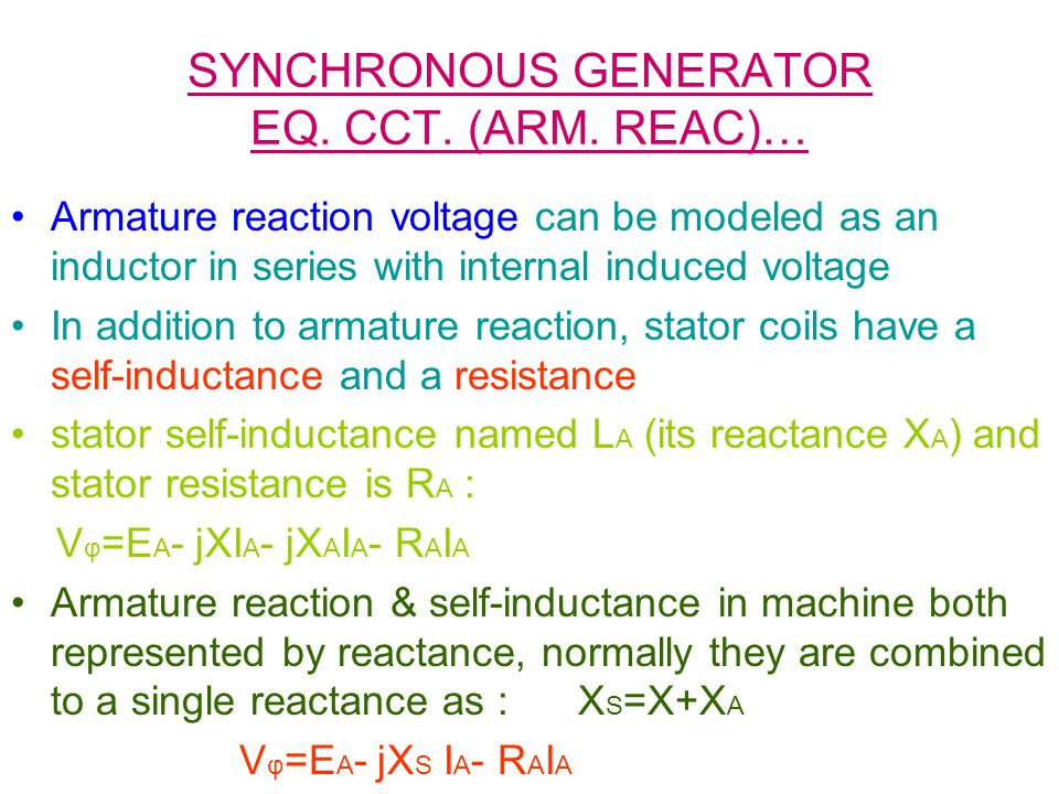 SYNCHRONOUS GENERATOR EQ. CCT. (ARM. REAC)… Armature reaction voltage can be modeled as an inductor in series with internal induced voltage In additio