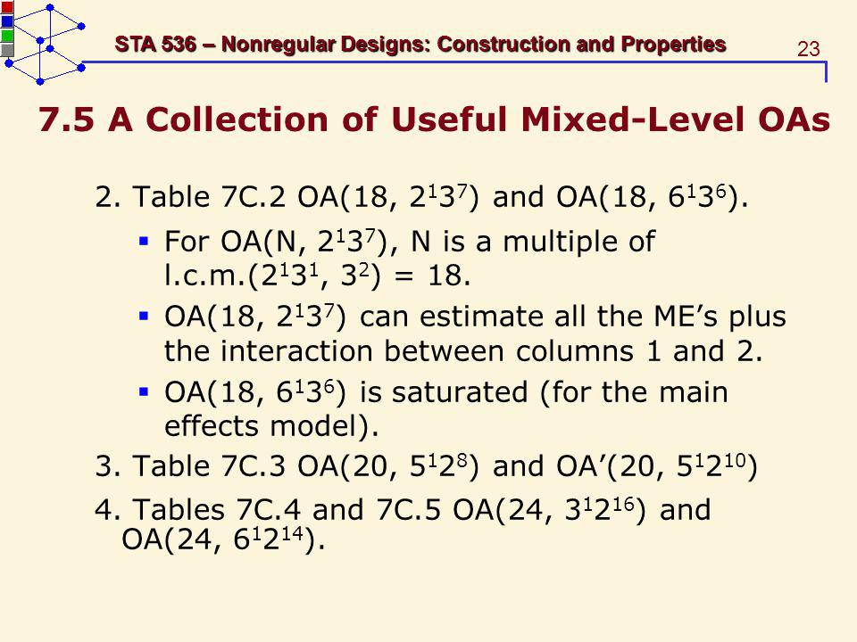 23 STA 536 – Nonregular Designs: Construction and Properties 7.5 A Collection of Useful Mixed-Level OAs 2.