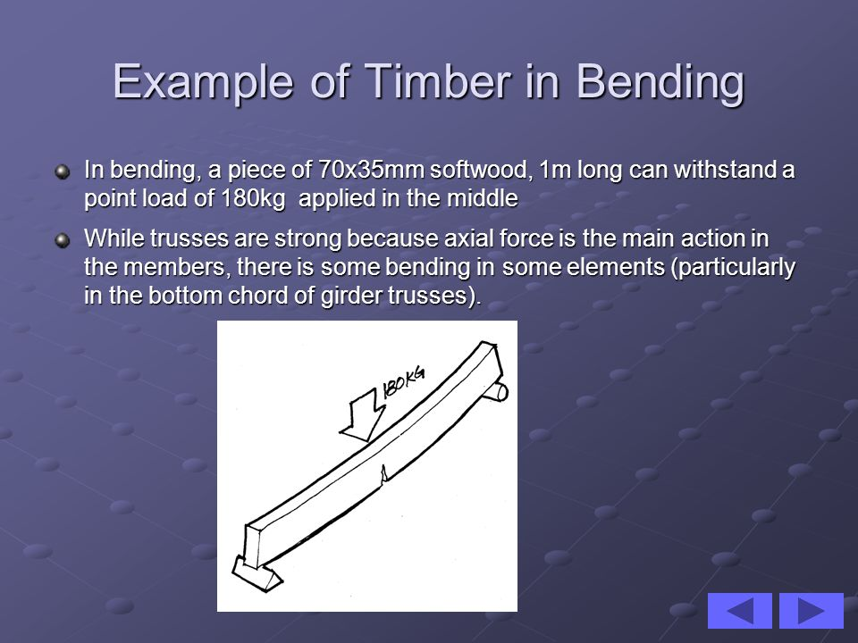 Example of Timber in Bending In bending, a piece of 70x35mm softwood, 1m long can withstand a point load of 180kg applied in the middle While trusses