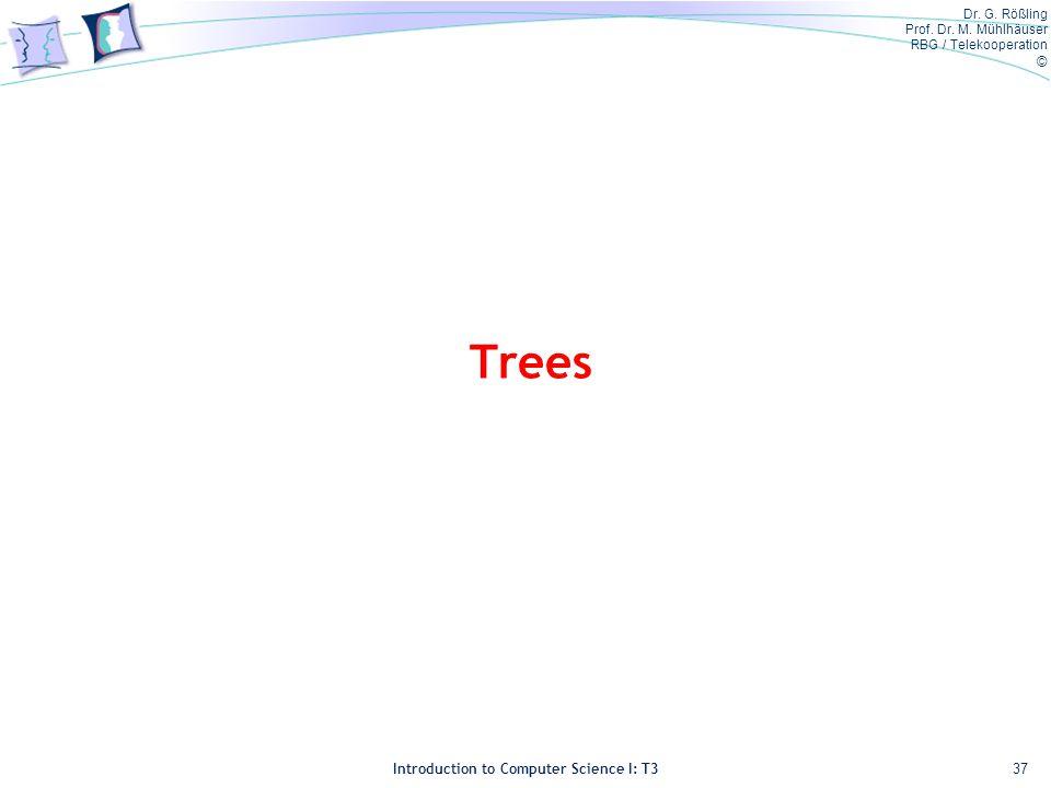 Dr. G. Rößling Prof. Dr. M. Mühlhäuser RBG / Telekooperation © Introduction to Computer Science I: T3 Trees 37