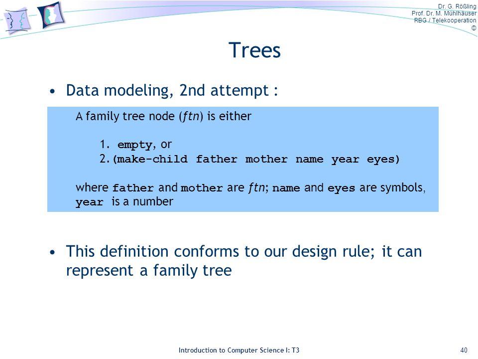 Dr. G. Rößling Prof. Dr. M. Mühlhäuser RBG / Telekooperation © Introduction to Computer Science I: T3 Trees Data modeling, 2nd attempt : This definiti