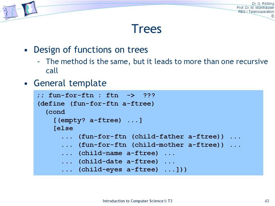 Dr. G. Rößling Prof. Dr. M. Mühlhäuser RBG / Telekooperation © Introduction to Computer Science I: T3 Trees Design of functions on trees –The method i
