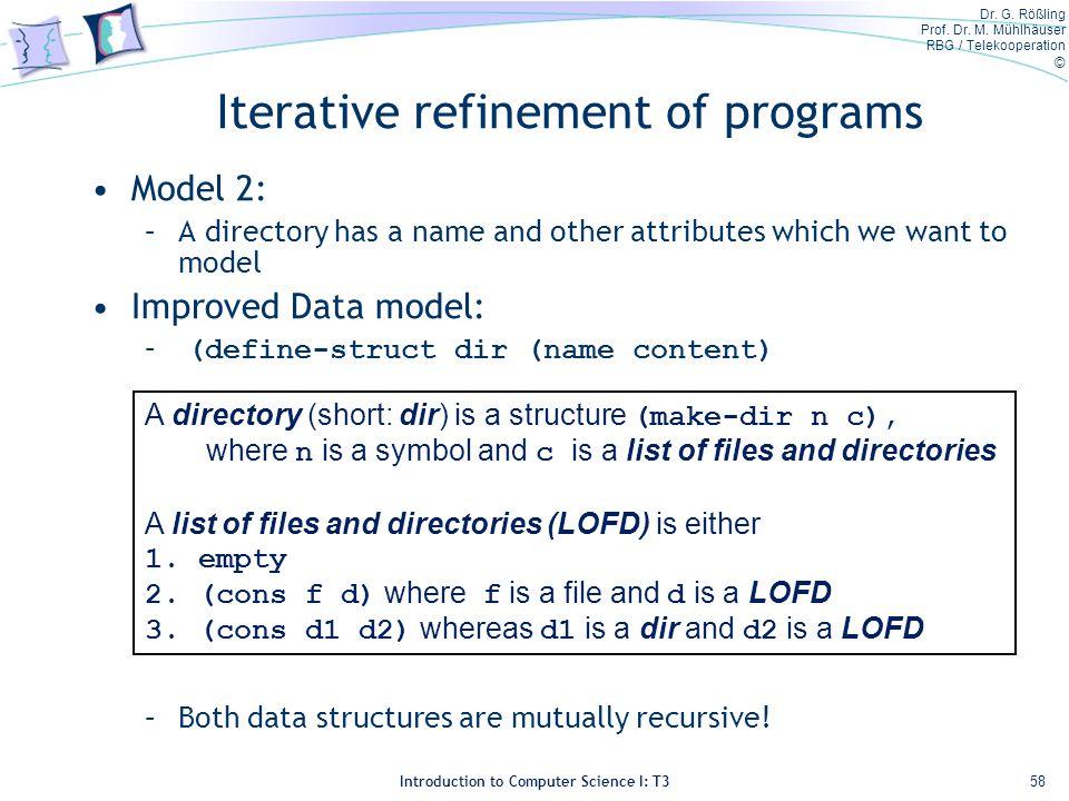 Dr. G. Rößling Prof. Dr. M. Mühlhäuser RBG / Telekooperation © Introduction to Computer Science I: T3 Iterative refinement of programs Model 2: –A dir