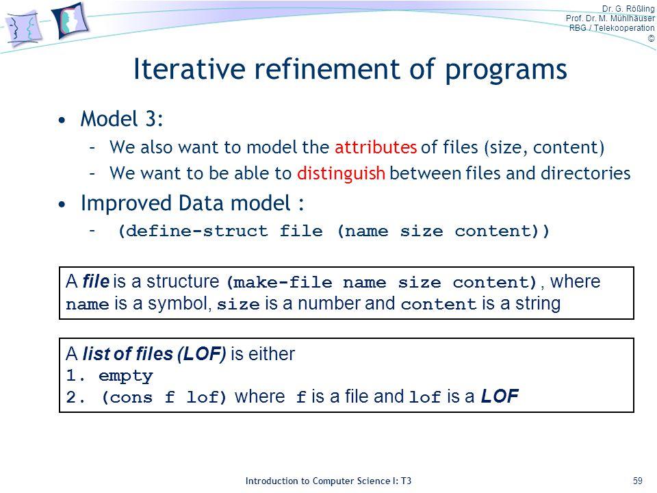 Dr. G. Rößling Prof. Dr. M. Mühlhäuser RBG / Telekooperation © Introduction to Computer Science I: T3 Iterative refinement of programs Model 3: –We al