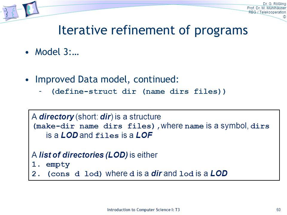 Dr. G. Rößling Prof. Dr. M. Mühlhäuser RBG / Telekooperation © Introduction to Computer Science I: T3 Iterative refinement of programs Model 3:… Impro