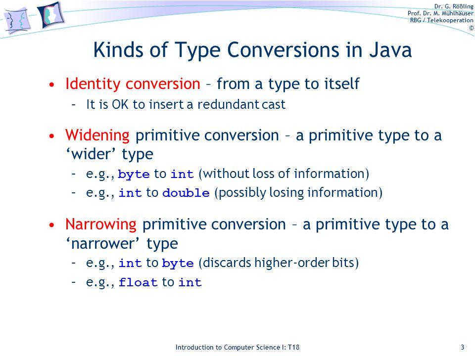 Dr. G. Rößling Prof. Dr. M. Mühlhäuser RBG / Telekooperation © Introduction to Computer Science I: T18 Kinds of Type Conversions in Java Identity conv