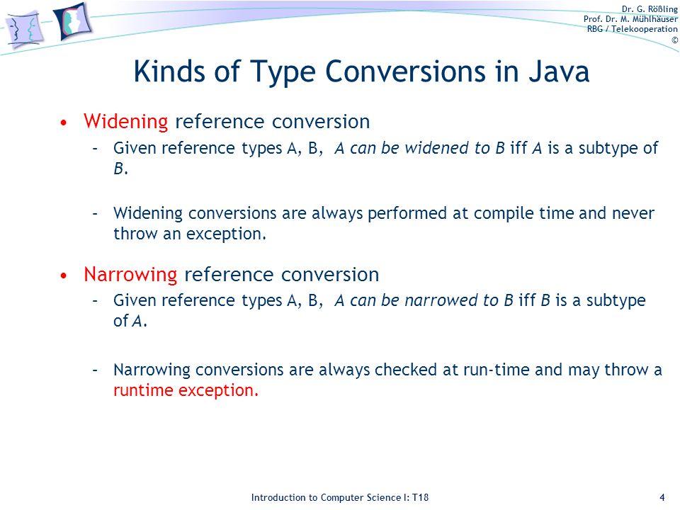 Dr. G. Rößling Prof. Dr. M. Mühlhäuser RBG / Telekooperation © Introduction to Computer Science I: T18 Kinds of Type Conversions in Java Widening refe