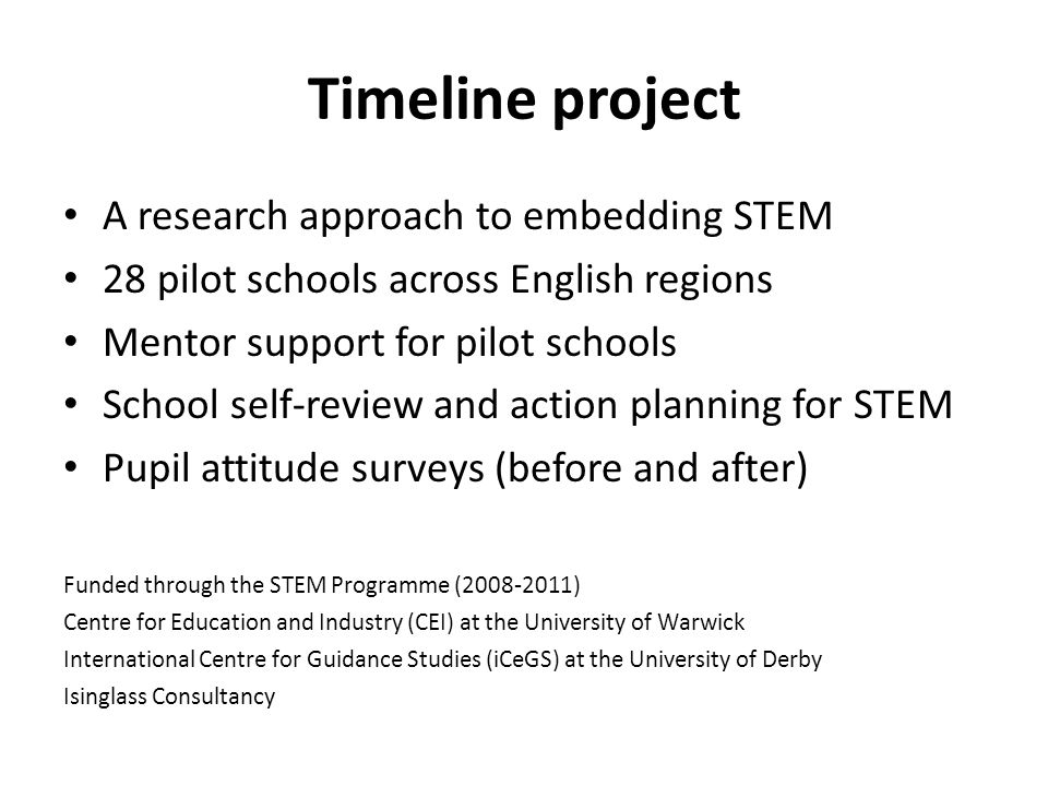 Timeline project A research approach to embedding STEM 28 pilot schools across English regions Mentor support for pilot schools School self-review and