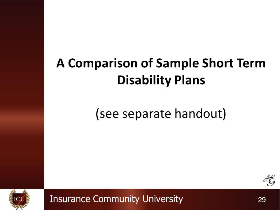 Insurance Community University 29 A Comparison of Sample Short Term Disability Plans (see separate handout)